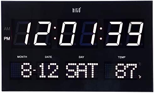 HITO 14.2 Large Oversized LED Wall Clock Seconds Date Day Indoor Temperature Adjustable Brightness Memory Function Adapter Included Decorative