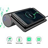 BSHAK Bluetooth Speaker with Wireless Charger Fast Charge Dual Speakers for Smart Watch,iphone,ipad(Black)