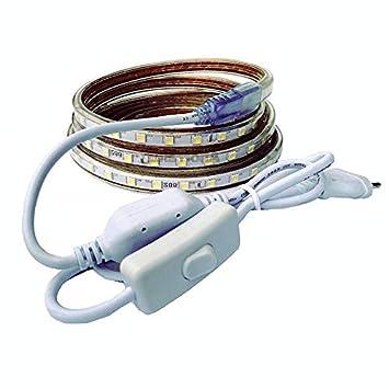 Tiras LED Smd5050 220v 60 Led//m para Interiores y Exteriores Decorar IP66 Impermeable Con Enchufe de Interruptor ONSSI LED 6000k Blanco Fr/ío, 10M