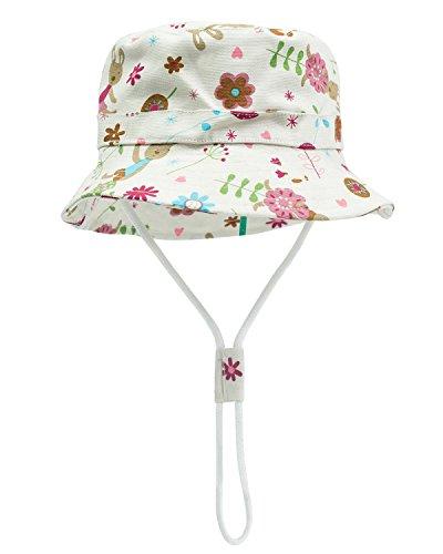 (Baby Sun Hat Toddler Kids Dinosaur Hat Sun Protection Bucket with Chin Strap (9-18 Months, Flower)