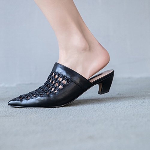 Breathable amp; Sandals amp; 2018 Block Fashion B Heel Career Summer Out Dress for Slippers Evening Hollow Leather Party Office Women's 86pqx0x