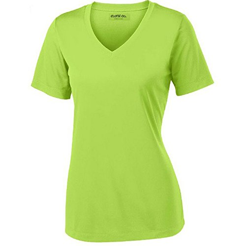 - Clothe Co. Ladies Short Sleeve V-Neck Moisture Wicking Athletic Shirt, Lime Shock, S