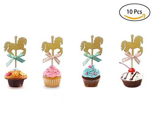10Pcs Carousel Horse Cupcake Toppers, Food Picks Baby Shower Decor And Cupcake Party (Horse Topper)