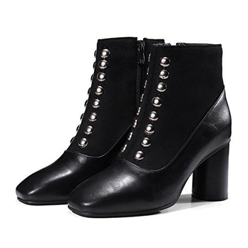 nbsp;La amp;X Tacones Toe bloque QIN zapatos corto Botines Black mujer cuadrado FqpnOxaZ