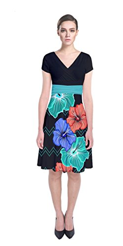 Casual Flower Office Wrap CowCow Work Hawaii Front Sleeve Floral Womens Paisley Dark Dress Short aY5HqqwI