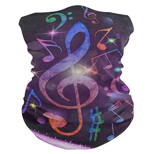Colorful Purple Music Note Balaclava Womens Headband Scarf Mens Bandana,Muffler,Neck Gaiter,Magic,Aliceband Helmet Liner