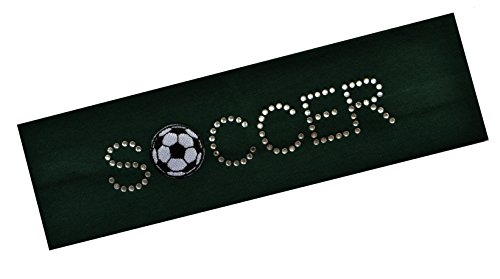 SOCCER BALL Rhinestone Cotton Stretch Headband for Girls, Teens and Adults Funny Girl Designs Soccer Team Gifts (Hunter Green) ()