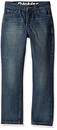 Dickies Big Boys' Slim Tapered Fit 5-Pocket Jean, Aged Medium Indigo, 10