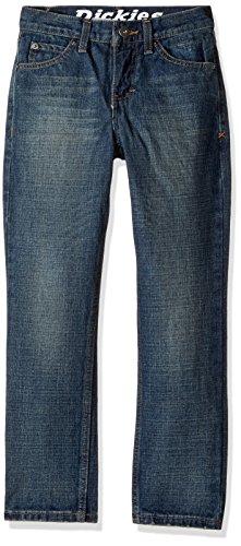(Dickies Boys' Big Slim Tapered Fit 5-Pocket Jean, Aged Medium Indigo, 14)