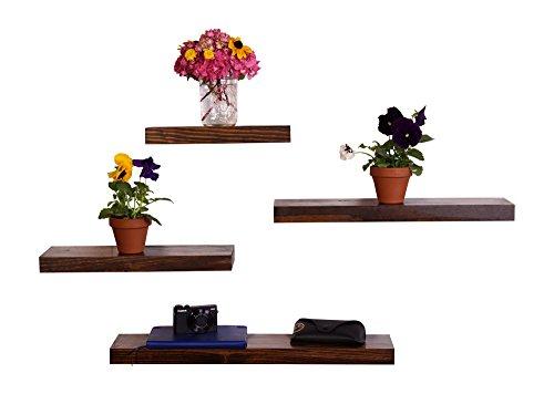 DAKODA LOVE Clean Edge Floating Shelves, USA Handmade, Clear Coat Finish, 100% Countersunk Hidden Floating Shelf Brackets, Beautiful Grain Pine Wood Wall Decor (Set of 4) (Espresso) by DAKODA LOVE