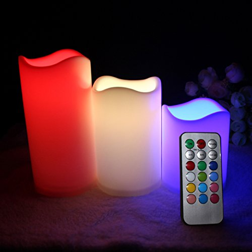 [Multiple Color Flameless Candles Remote - electric candles, Battery Operated Set of 3 Remote Control 12 Color Settings glow candles for Home Décor Holiday Gift and Christmas Gift- by LIANDER] (Womens Halloween Ideas)