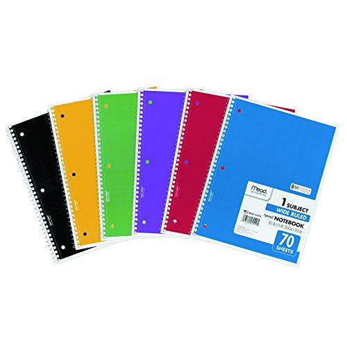 Mead Spiral 1-Subject Wide-Ruled Notebook, Assorted Colors (5510)