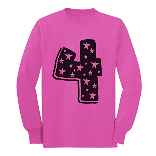 [Four Years Old Birthday Gift Idea - I'm 4 Superstar Long sleeve kids T-Shirt 5/6 Pink] (Long Sleeve Birthday Shirt)
