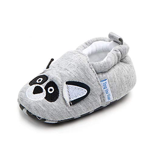 (Save Beautiful Cute Cartoon Infant Unisex Baby Warm Cotton Anti-Slip Soft Sole First Walkers Shoes (12-18 Months, Gray Dog))