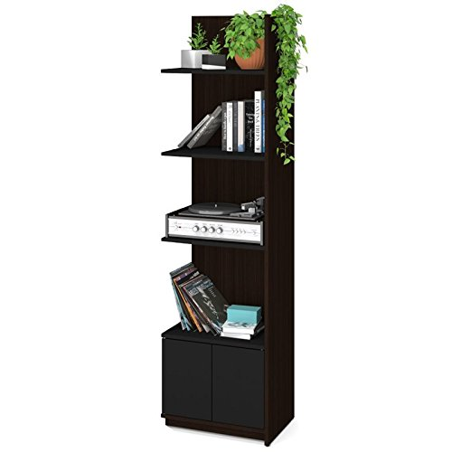 Bestar Small Space 20'' Add-on Storage Tower in Chocolate and Black