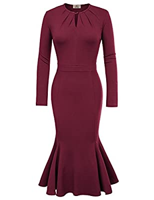 Grace Karin Womens Vintage Long Sleeve Round Neck Mermaid Bodycon Party Dress