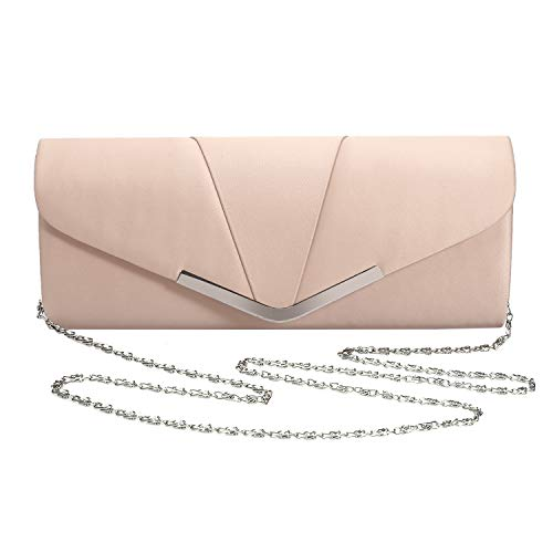 - Womens Satin Clutch Evening Handbag for Party Cocktail Wedding Elegance Envelope Purse Wallet Bag (BEIGE)