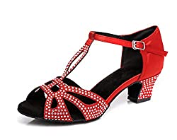 Women's T-Strap Crystals Sparkle Med Heel Shoes