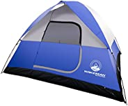 Wakeman 75-CMP1018 6-Person Tent, Water Resistant Dome for Camping with Removable Rain Fly and Carry Bag, Blue