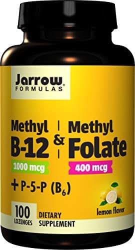 Jarrow Formulas Methyl B-12/Methyl Folate and Pyridoxal-5-phosphate (P-5-P) Lozenges, Supports Brain Health, 100 Count
