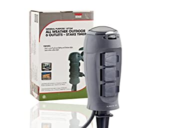 Tork 806B Outdoor Christmas Light Stake Timer - 6 Grounded Outlets ...