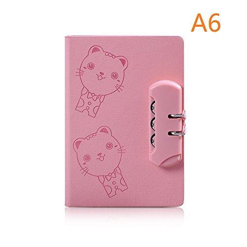 k, Combination Lock Journal Students Diary Notebook, Cute Cartoon Cat (Pink) (Combination Notebook Lock)