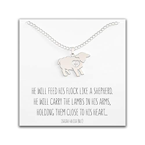 Happy Kisses Lamb Necklace with Cross Over Heart - First Communion Gift for Girls - Cute Charm with Message Card - Adjustable Chain 18 to 15 Inches for Women & Children (Silver)