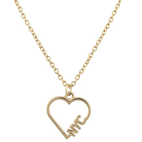 Lux Accessories Goldtone I Heart NYC New York City Open Heart Charm Necklace