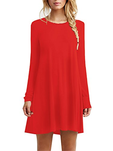 Tinyhi Women's Casual Plain Long Sleeve Loose Swing Cotton Dress, Red, Medium