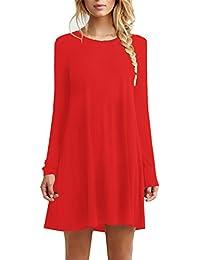 Women's Casual Plain Flowy Simple Swing T-shirt Loose Dress