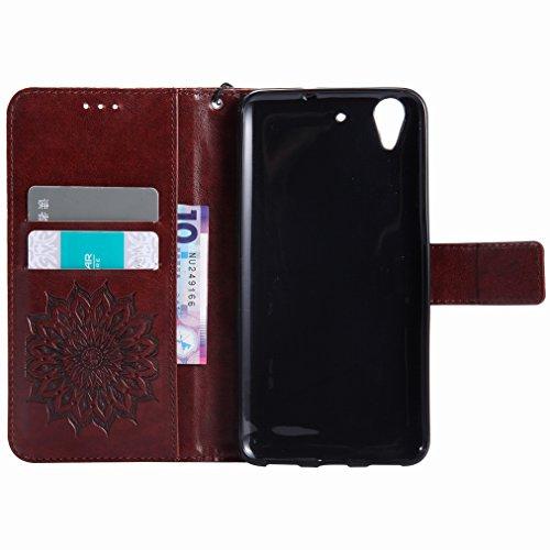 Yiizy Huawei Y6 II / Huawei Honor Holly 3 Custodia Cover, Sole Petali Design Sottile Flip Portafoglio PU Pelle Cuoio Copertura Shell Case Slot Schede Cavalletto Stile Libro Bumper Protettivo Borsa (Ma