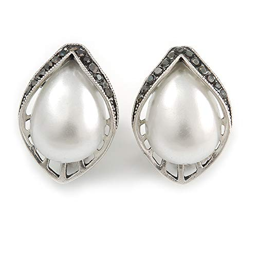 (Vintage Inspired Faux Pearl Hematite Crystal Leaf Stud Clip On Earrings In Silver Tone - 23mm L)
