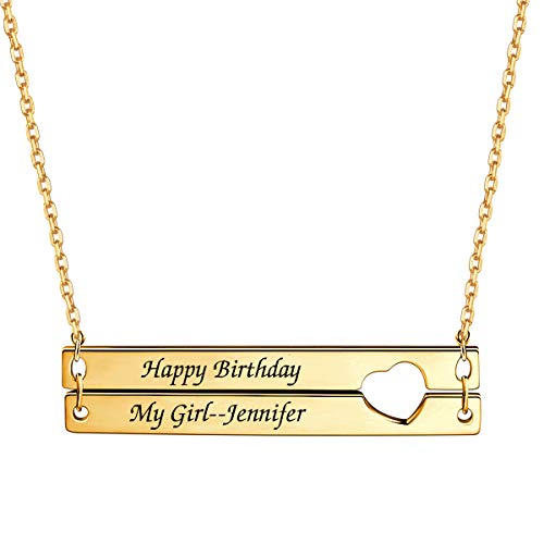 Personalized Double Bar Necklace with Heart Nameplate Engraved Necklace Custom Jewelry for Women