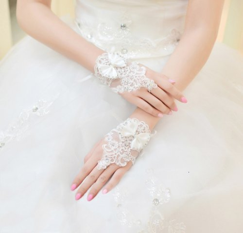 Exquisite Selebrity Fingerless Rhinestone and Bowknot Bridal Lace Gloves