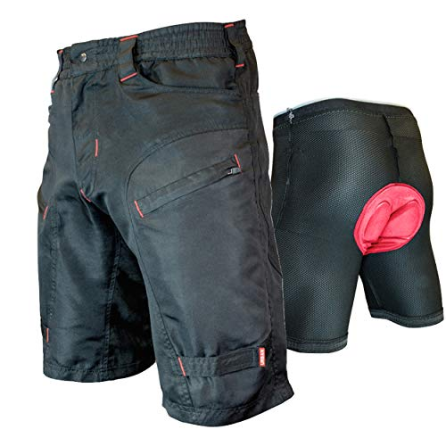 THE SINGLE TRACKER-Mountain Bike Cargo Shorts, With Premium Antibacterial G-tex Padded Undershorts, Large 32-34""