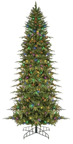 GKI Bethlehem Lighting Pre-Lit 7-1/2-Foot PE/PVC Christmas Tree with 300 Multi-Color Frosted Wide-Angle LED  , Slim Palisade