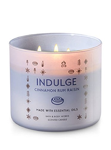Raisin Magic - Bath and Body Works White Barn 3 Wick Indulge Candle Cinnamon Rum Raisin 14.5 Ounce With Essential Oils