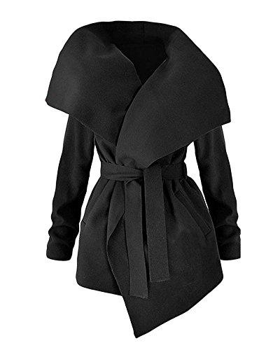 Mujer Gabardina Chaqueta De Manga Larga Abrigo Trench Coat Con Cinturón Jacket Outwear Negro