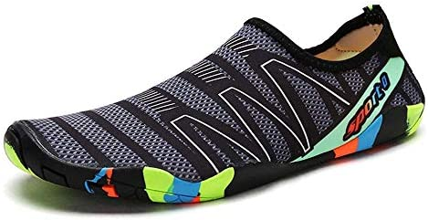 干渉水上流の靴アウトドアビーチシューズダイビングシューズシュノーケリングシューズストレッチ布ラバーアウトソールライトウィッキングコンフォートスピード ポータブル (色 : Gray, Size : US6)