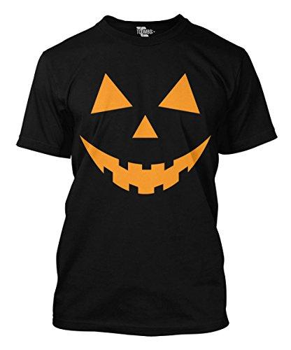 BLACK Pumpkin Face - Halloween Teeth Men's T-shirt (Small, BLACK) ()