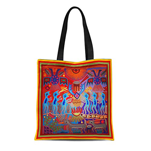 Semtomn Cotton Line Canvas Tote Bag Voodoo Huichol Shaman Ritual Witchcraft Medicine Man Mexican Magik Reusable Handbag Shoulder Grocery Shopping Bags