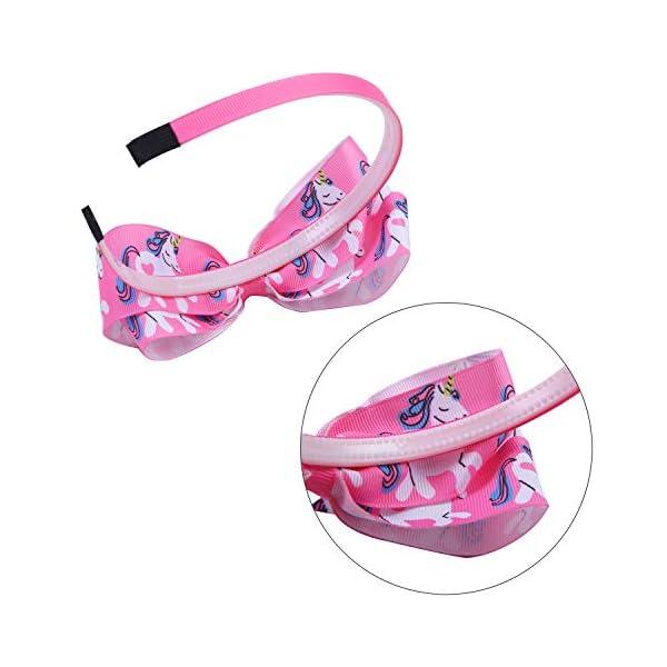 Elcoho 12 Styles Unicorn Bow Headband Unicorn Theme Hair Bows Teeth Comb Hair Hoops Hair Accessories for Girls, 12 Pieces (12 Colors A) 5