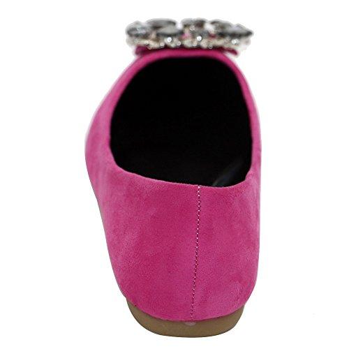 Suédé Bijoux Couleur Gros Chaussures Tire Dépolissement Les Unie Non Pointu Femme Cramoisi À Talon Plat Aalardom comme ZBaq8wn