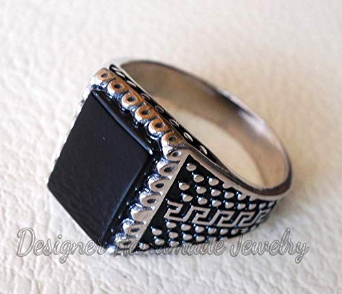 (Men ring black onyx ring sterling silver 925 all sizes jewelry onyx flat natural semi precious agate rectangular aqeeq arabic turkish style)