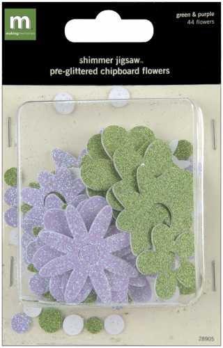 Making Memories Shimmer Jigsaw - Making Memories Shimmer Jigsaw Flowers-Purple/Green