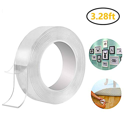 Double Sided Tape Utron Nano Tape Traceless Washable Adhesive Tape Reusable Clear Double Sided Anti-Slip Nano Gel 3.28ft