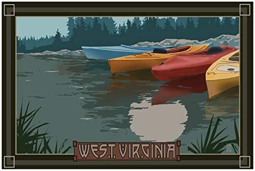 West Virginia Kayaks in Moonlight Travel Art Print Poster by Mike Rangner (24