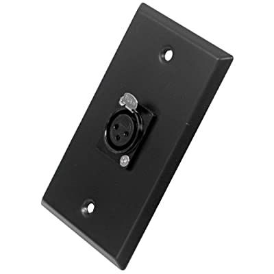 Seismic Audio SA-PLATE5 Black Stainless Steel Wall Plate with Single XLR Female Connector