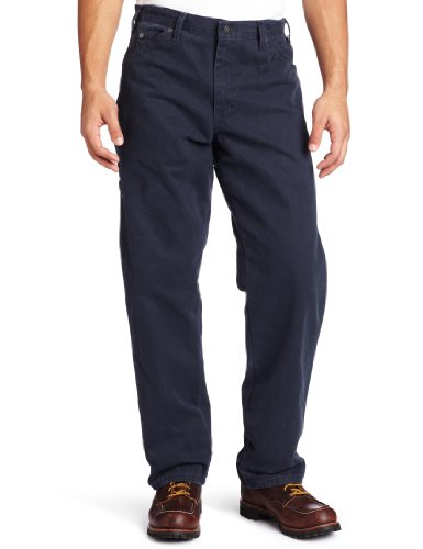 Dickies Men's Relaxed Fit Sanded Duck Carpenter Jean, Dark Navy, 34x34