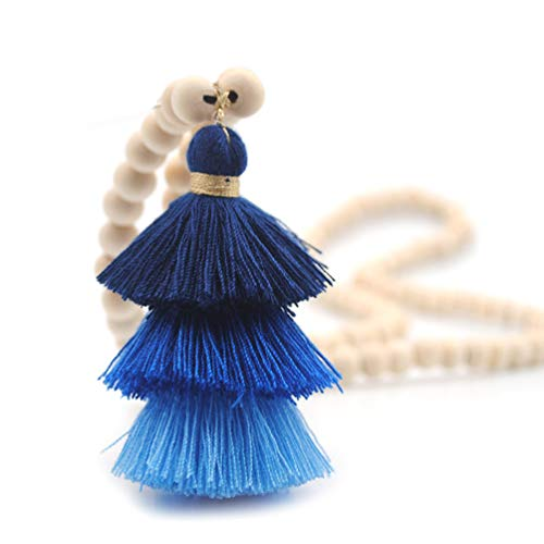 Bohemian Long Necklace Pendant Tiered Layered Tassel Thread Fringe Beads Chain Women Girls Navy